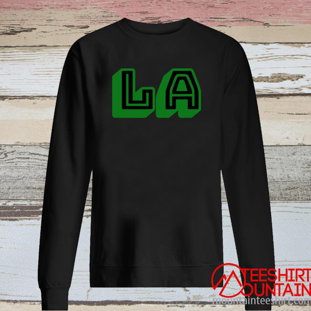 L A Los Angeles La Green Shirt long sleeve